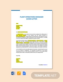 Free Plant Operations Manager Cover letter Template