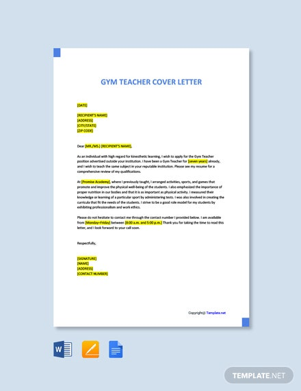 Free Gym Teacher Cover Letter Template