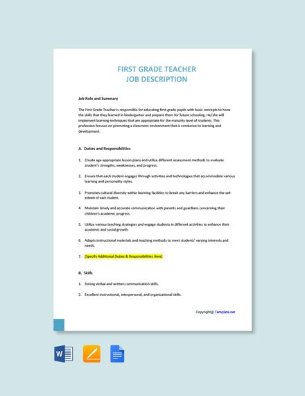 Free First Grade Teacher Job Ad/Description Template