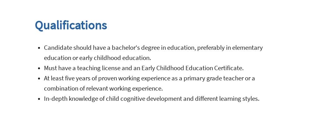 Free First Grade Teacher Job Ad/Description Template 5.jpe