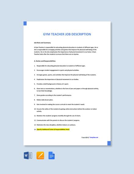 Free Gym Teacher Job Ad/Description Template