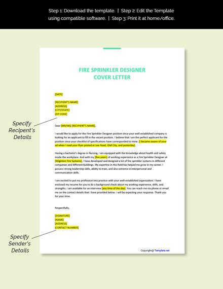 Fire Sprinkler Designer Cover Letter Template