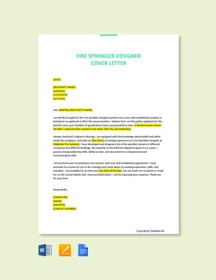 Free Fire Sprinkler Designer Cover Letter Template