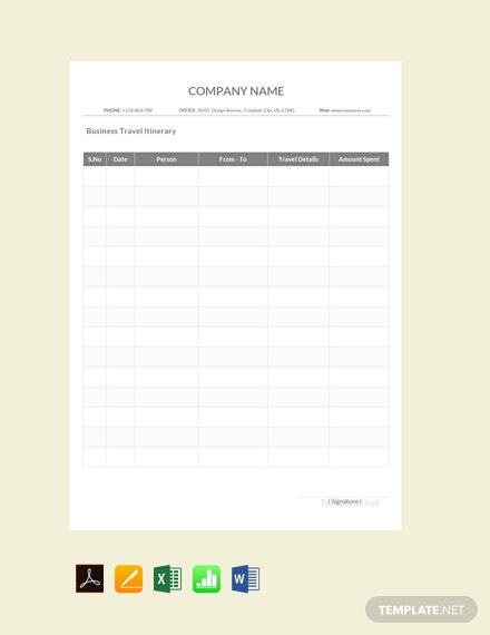 Free Sample Business Travel Itinerary Template