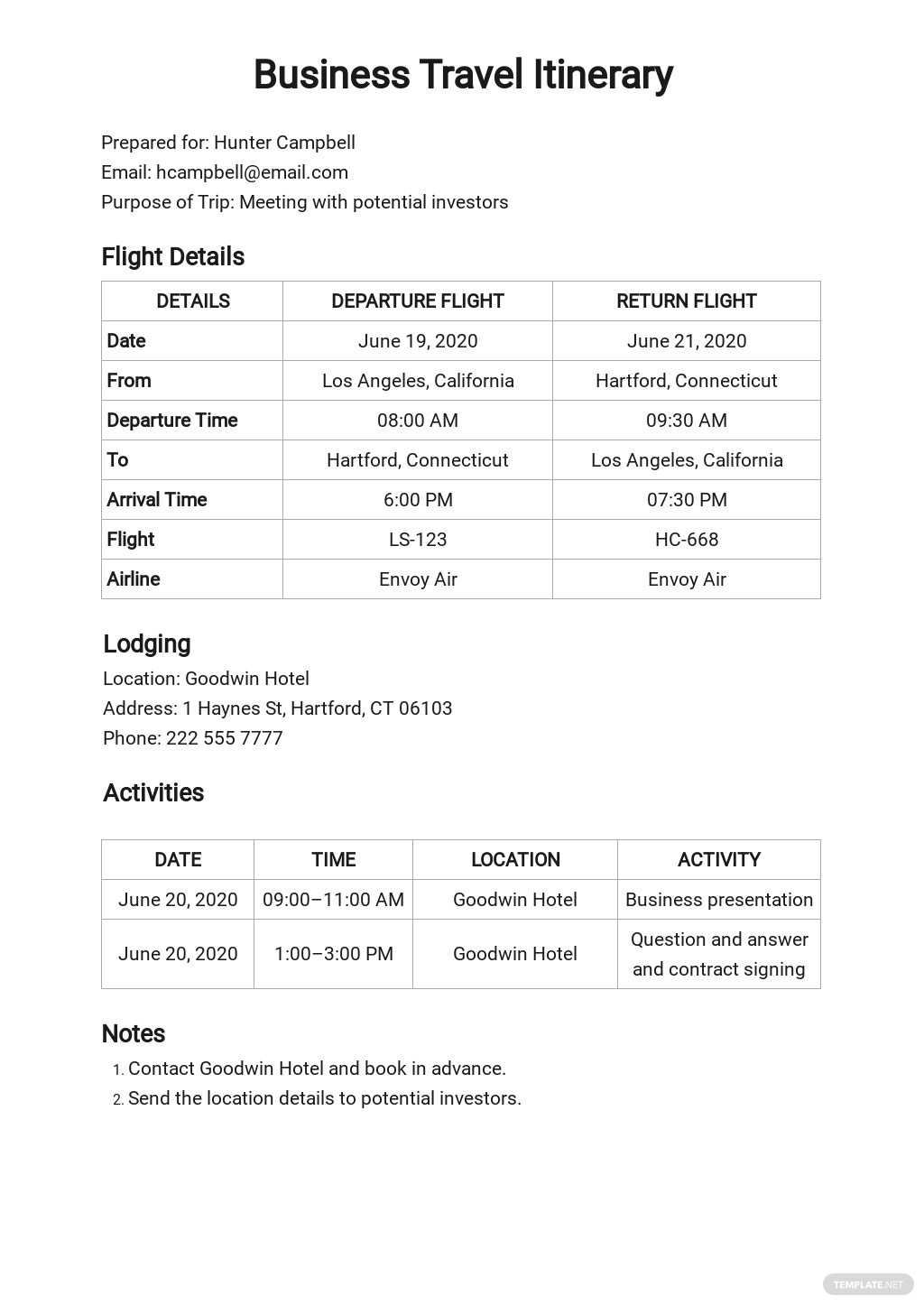 Sample Business Travel Itinerary Template