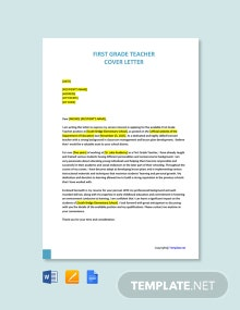Free First Grade Teacher Cover Letter Template