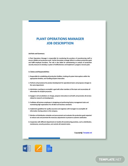 Free Plant Operations Manager Job Description Template