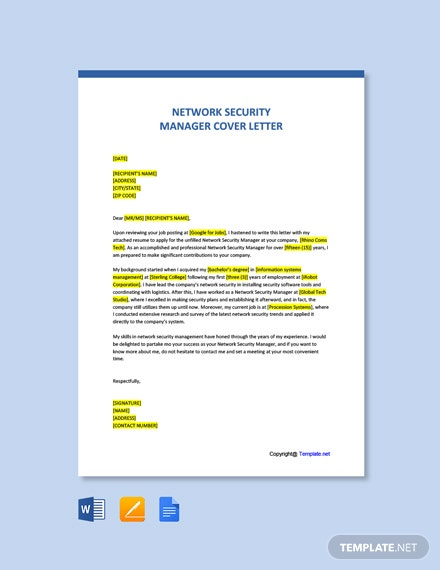 Free Network Security Manager Cover Letter Template