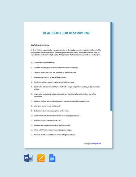 Free Head Cook Job Ad/Description Template