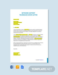 Free Network Support Technician Cover Letter Template