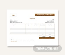 Online Order Confirmation Template