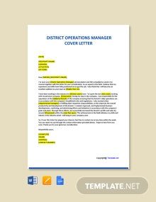 Free District Operations Manager Cover Letter Template