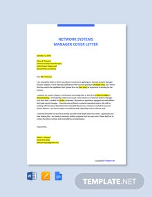 Free Network Systems Manager Cover Letter Template
