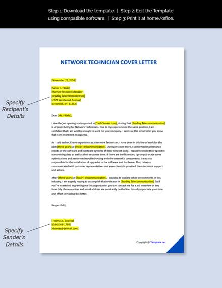 Network Technician Cover Letter Template