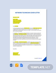 Free Network Technician Cover Letter Template