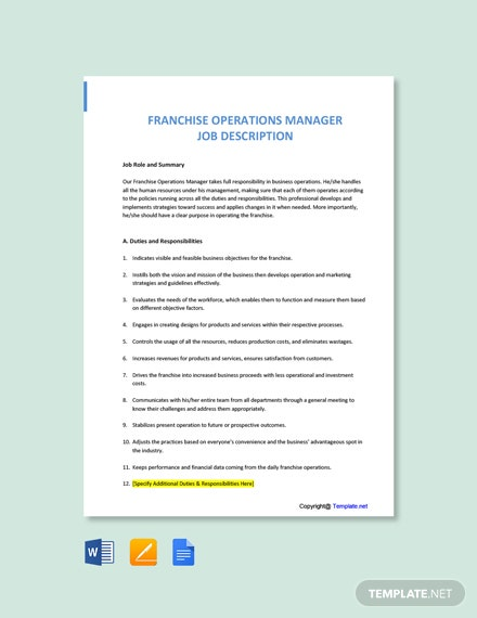 Free Franchise Operations Manager Job Description Template