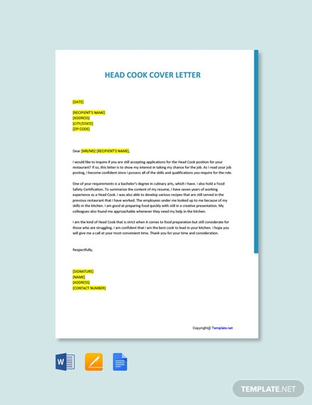 Free Head Cook Cover Letter Template