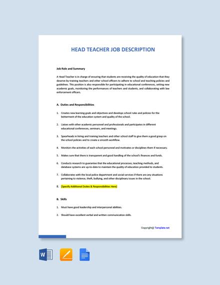 Free Head Teacher Job Ad/Description Template