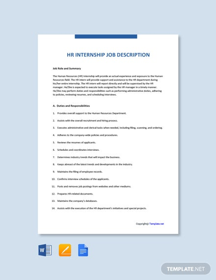 Free HR Internship Job Description Template