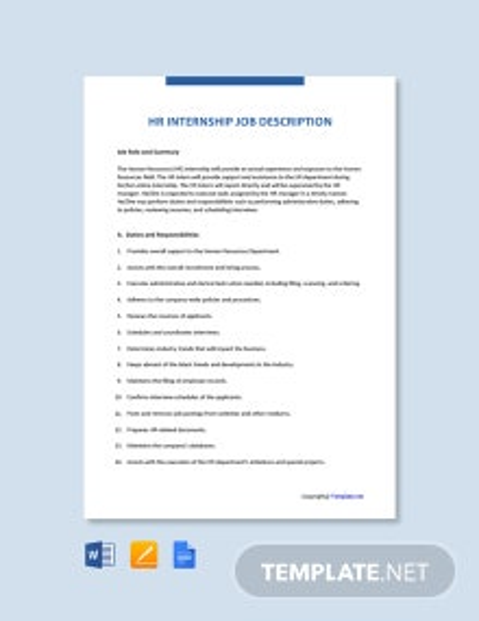 Free HR Internship Job Ad/Description Template