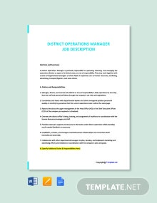 Free District Operations Manager Job Description Template