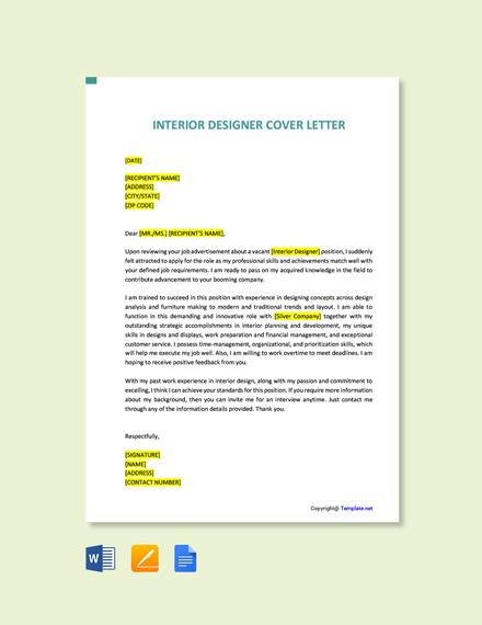 Free Interior Designer Cover Letter Template