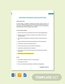 Free Interior Designer Job Description Template