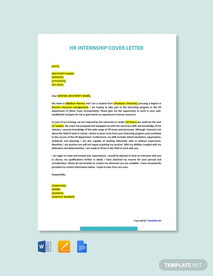 Free HR Internship Cover Letter Template