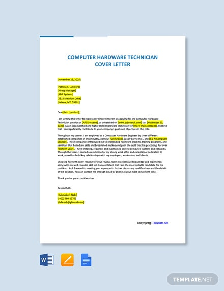 Free Computer Hardware Technician Cover Letter Template