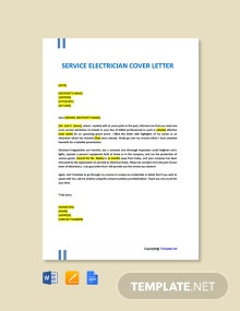 Free Service Electrician Cover Letter Template