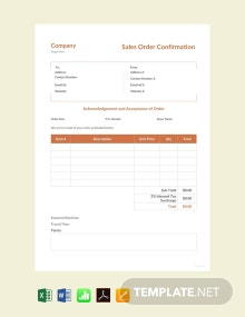 Free Sales Order Confirmation Template