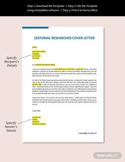 Editorial Researcher Cover Letter Template