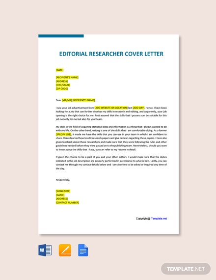 Free Editorial Researcher Cover Letter Template