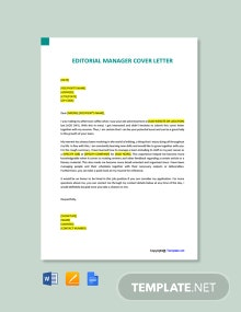 Free Editorial Manager Cover Letter Template