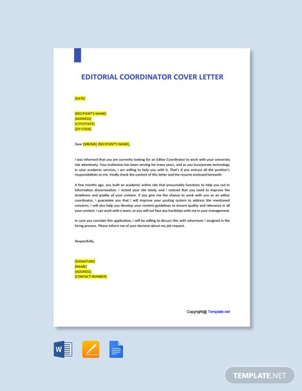 Free Editorial Coordinator Cover Letter Template