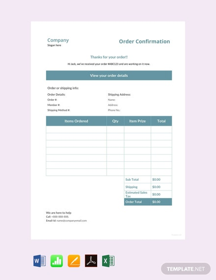 Free Sample Order Confirmation Template