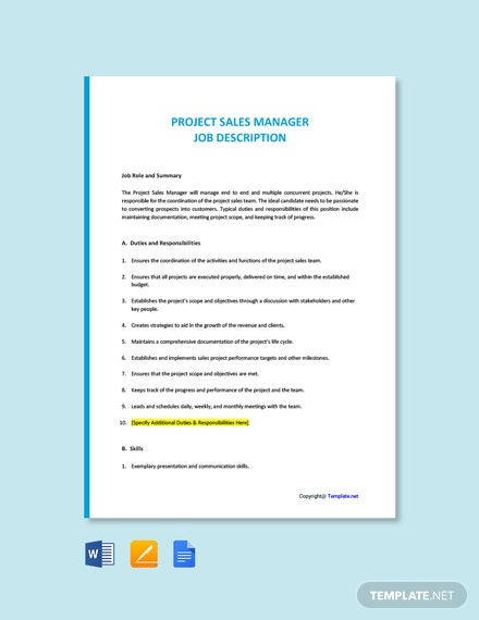 Free Project Sales Manager Job Ad/Description Template