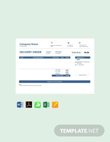 Free Delivery Order Template