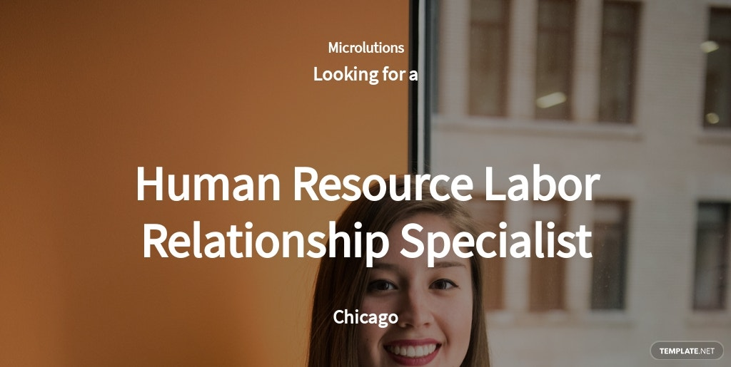 Human Resource Labor Relationship Specialist Job Ad/Description Template