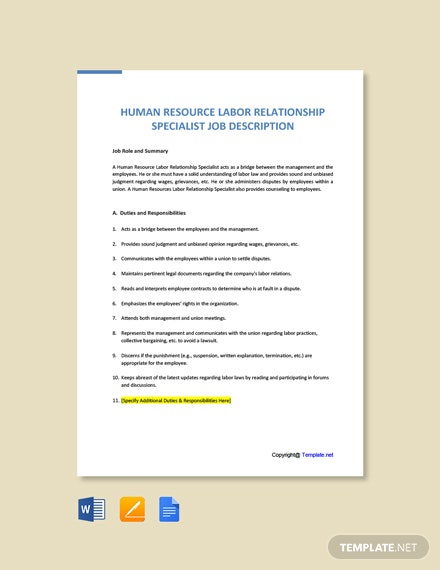 Free Human Resource Labor Relationship Specialist Job Ad/Description Template