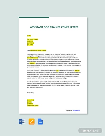 Free Assistant Dog Trainer Cover Letter Template