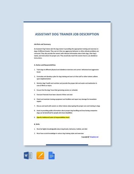 Free Assistant Dog Trainer Job Description Template