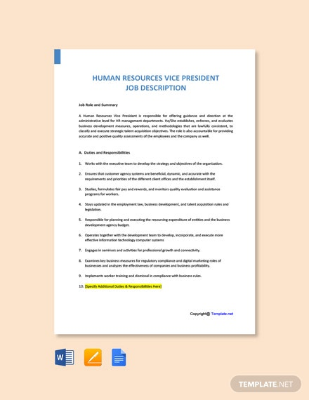 Free Human Resources Vice President Job Description Template