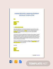 Free Human Resource Labor Relationship Specialist Cover Letter Template