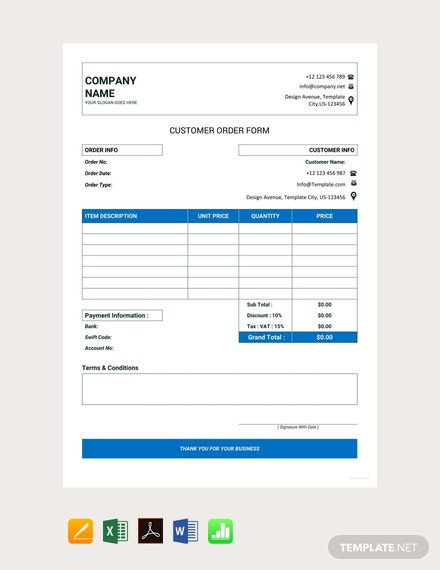Free Customer Order Form Template
