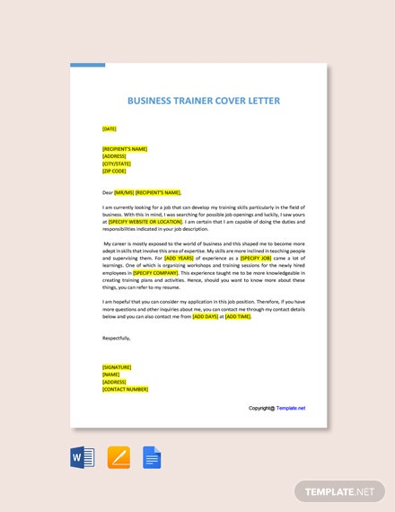 Free Business Trainer Cover Letter Template