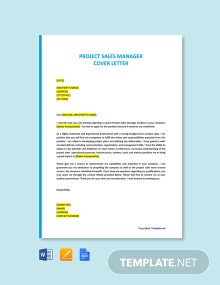 Free Project Sales Manager Cover Letter Template
