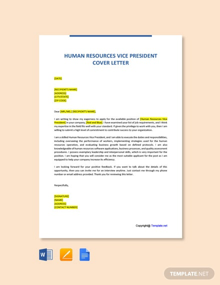 Free Human Resources Vice President Cover Letter Template