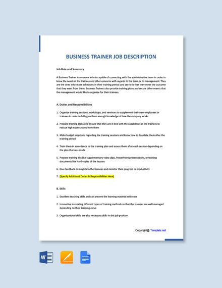 Free Business Trainer Job Ad/Description Template