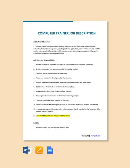Free Computer Trainer Job Ad/Description Template